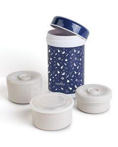 Nuvita Termos inox mancare solida 1200 ml cu 3 recipiente interne - albastru 1477