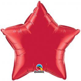 Balon folie metalizat stea ruby red- 50cm, Qualatex 12626