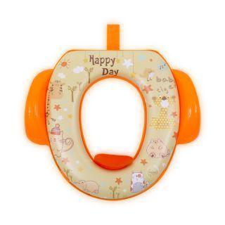Reductor  moale pentru  toaleta, cu manere, Orange Animals
