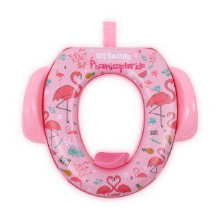 Reductor  moale pentru  toaleta, cu manere, Pink Flamingo