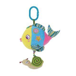 Jucarie muzicala din plus, 32 cm, Blue Colorful Fish