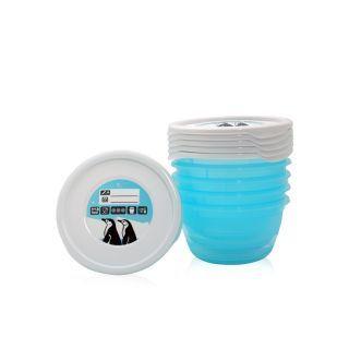 Set 5 recipiente cu capac pentru pastrarea hranei, 0.5 litri, Blue