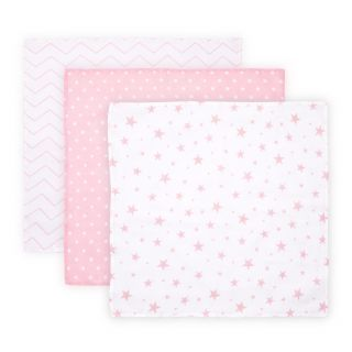 Set 3 scutece din muselin 80x80 cm TRIO, Pink Mix