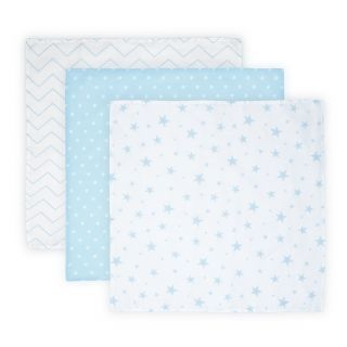Set 3 scutece din muselin 80x80 cm TRIO, Blue Mix