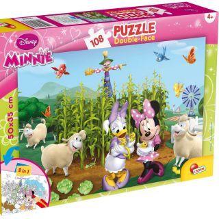 Puzzle de colorat - Minnie si Daisy in gradina (108 piese)