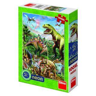 Puzzle XL - Lumea dinozaurilor neon (100 piese)