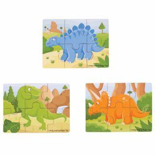 Set 3 puzzle din lemn - Dinozauri