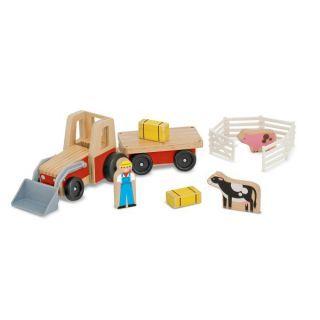 Set de joaca Excavator din lemn cu remorca