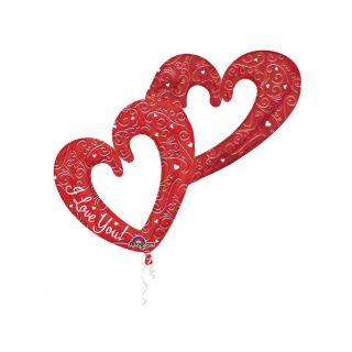 Baloane Folie Figurine Inimi I Love You - 134 x 91 cm, Amscan 31912