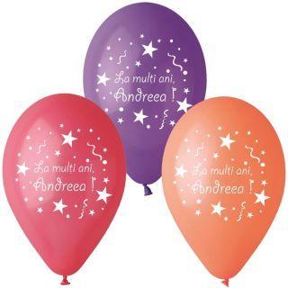 Baloane inscriptionate - La multi ani, Andreea, 12 buc