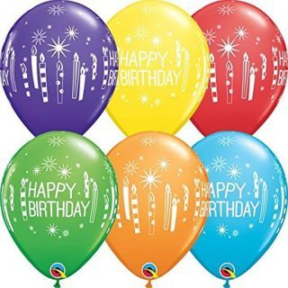 Baloane latex 11''/28cm Happy Birthday - diverse culori, Qualatex 52963