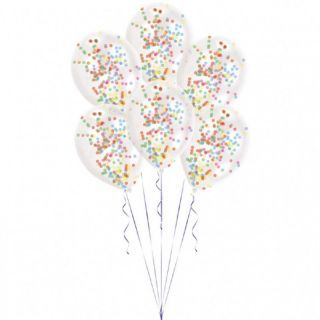 Baloane latex 11'' + confetti multicolore, Amscan 9903277, Set 6 buc