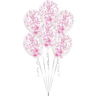 Baloane latex 11'' + confetti roz, 9903279, Set 6 buc