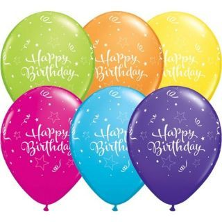 Baloane latex 11'' Happy Birthday - Tropical Assortment, Qualatex