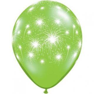 "Baloane latex 11"" inscriptionate Fireworks-a-round Lime Green, Qualatex"