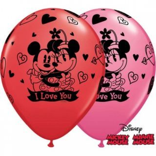 "Baloane latex 11""/28cm inscriptionate Mickey & Minnie Mouse, Qualatex"
