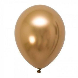 Baloane latex 33 cm Gold - Shiny (Chrome), Gemar, set 10 buc