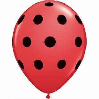 Baloane latex 5''/13cm rosii - Big Polka Dots, Qualatex