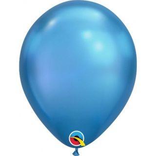 "Baloane latex 7""/18 cm Blue - Chrome, Qualatex 85112"