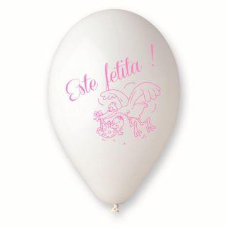 "Baloane latex albe inscriptionate ""Este Fetita"", Radar GI.EF.WH.T2"