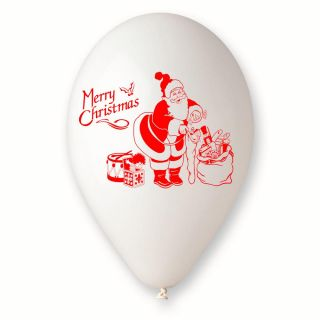 Baloane latex albe inscriptionate Merry Christmas, Radar GI.XMAS.WH.T2