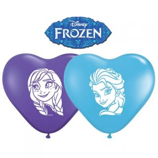Baloane latex inima 6''/15cm inscriptionate Frozen - Anna & Elsa, Qualatex 12932