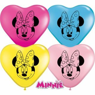 "Baloane latex inima 6""/16cm Minnie Mouse, Qualatex"