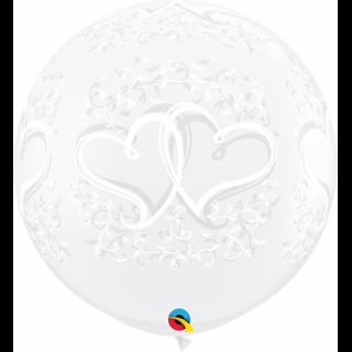 Baloane latex Jumbo 3 ft - Entwined Hearts, Qualatex 31496, 1 buc