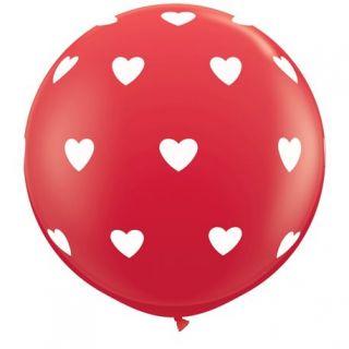 Baloane latex Jumbo 3 ft inscriptionate Big Hearts-A-Round Red, Qualatex 31089, 1 buc