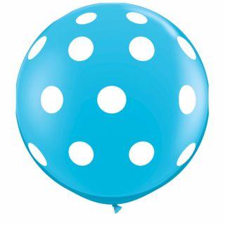 Baloane latex Jumbo 3 ft inscriptionate Big Polka Dots-A-Round Robin's Egg Blue, Qualatex 26175, 1 buc