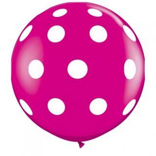 Baloane latex Jumbo 3 ft inscriptionate Big Polka Dots-A-Round Wild Berry, Qualatex 26172, 1 buc