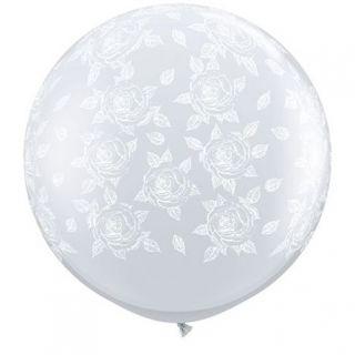 Baloane latex Jumbo 3 ft inscriptionate Elegant Roses-A-Round Diamond Clear - White Ink, Qualatex 28178, 1 buc
