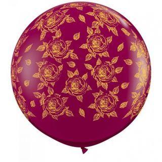 Baloane latex Jumbo 3 ft inscriptionate Elegant Roses-A-Round Sparkling Burgundy, Qualatex 28176, 1 buc