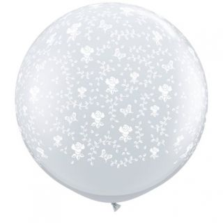 Baloane latex Jumbo 3 ft inscriptionate Flowers-A-Round Diamond Clear, Qualatex 28153, 1 buc
