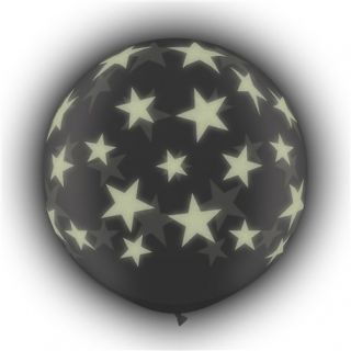 Baloane latex Jumbo 3 ft inscriptionate Glow Stars-A-Round Transparent, Qualatex 28154, 1 buc