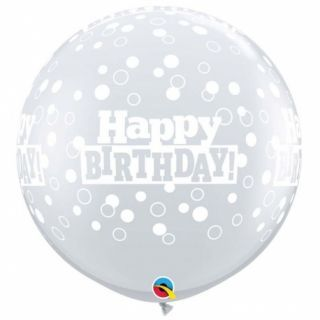 Baloane latex Jumbo 3 ft inscriptionate Happy Birthday Confetti Dots-A-Round Diamond Clear, Qualatex 53546, 1 buc