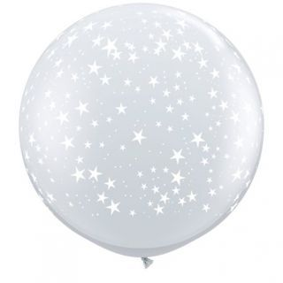 Balon latex Jumbo Stelute Diamond Clear, Q 29264, 1 buc