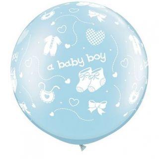 "Baloane latex Jumbo 30"" inscriptionate A Baby Boy-A-Round Pearl Light Blue, Qualatex 81486, 1 buc"