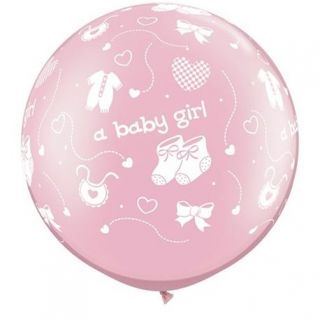 "Baloane latex Jumbo 30"" inscriptionate A Baby Girl-A-Round Pearl Pink, Qualatex 81487, 1 buc"