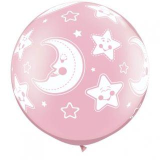 "Baloane latex Jumbo 30"" inscriptionate Baby Moon & Stars-A-Round Pearl Pink"