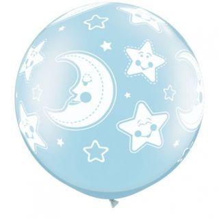 "Baloane latex Jumbo 30"" inscriptionate Baby Moon & Stars-A-Round Pearl Light Blue"
