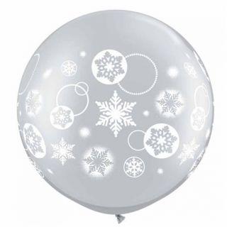 Balon latex Jumbo inscriptionat Snowflakes & Circles Silver, Q 60282