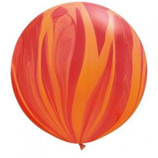 "Baloane latex Jumbo 30"" Red Orange Rainbow SuperAgate, Qualatex 63759, set 2 buc"