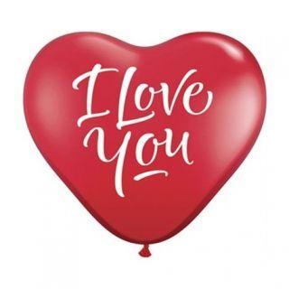 Baloane latex Jumbo Inima 3' inscriptionate I Love You Script Red, Qualatex 29509, 1 buc