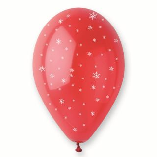 Baloane latex rosii inscriptionate cu fulgi de nea, Radar GIC.XMAS.RED.T3