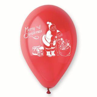 Baloane latex rosii inscriptionate Merry Christmas, Radar GI.XMAS.RED.T2