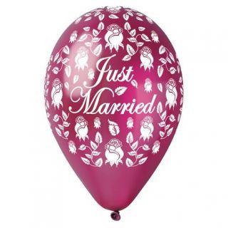 Baloane latex sidefate 30cm Just Married Burgundy, Gemar 301915, set 5 buc