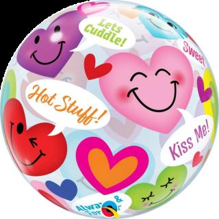 Balon Bubble 22''/56 cm Conversation Smiley Hearts, Qualatex