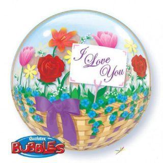 Zoom Balon Bubble 22''/56 cm I Love You Flower Basket, Qualatex