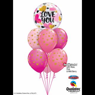 Balon Bubble 22''/56 cm Love You Hearts & Arrows, Qualatex